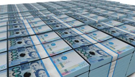 3D illustration of Philippine peso bills stacks background
