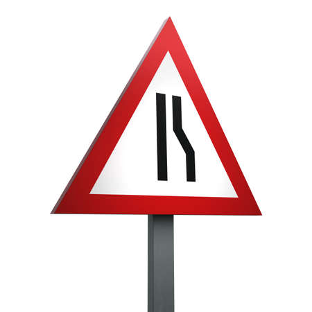3D Render of Traffic Sign of Road narrows on right Over a White Background