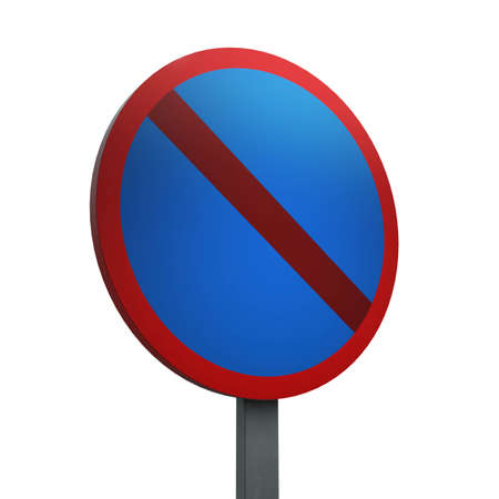 3D Render of Traffic Sign of No waiting Over a White Background Banco de Imagens