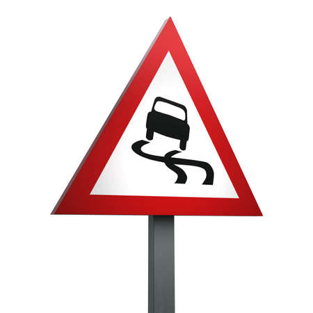 3D Render of Traffic Sign of Slippery road Over a White Background Banco de Imagens