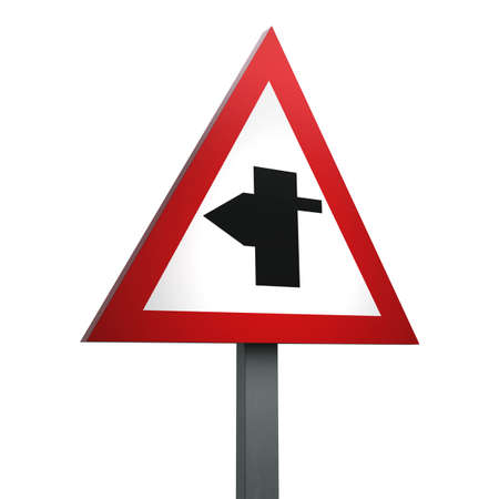 3D Render of Traffic Sign of T-junction with priority over vehicles from  the right Over a White Background