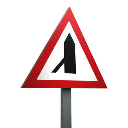 3D Render of Traffic Sign of Traffic merging from left ahead  Over a White Background