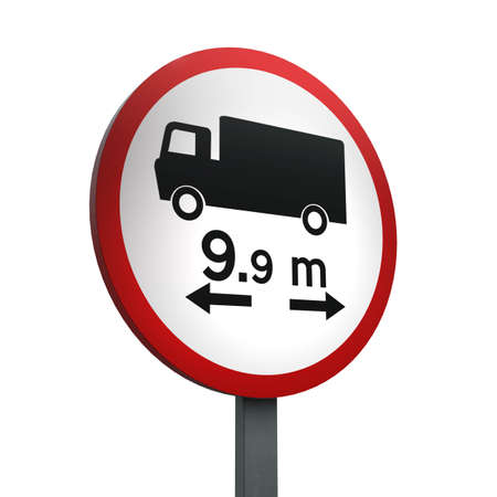 3D Render of Traffic Sign of No vehicle or combination of vehicles  over length shown Over a White Background Banco de Imagens