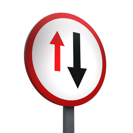 3D Render of Traffic Sign of Give priority to  vehicles from opposite direction Over a White Background
