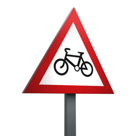 3D Render of Traffic Sign of Cycle route ahead Over a White Background Banco de Imagens
