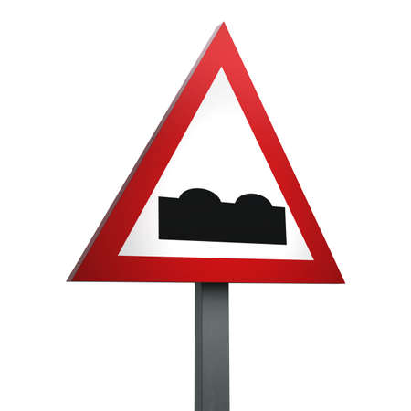 3D Render of Traffic Sign of Uneven road Over a White Background