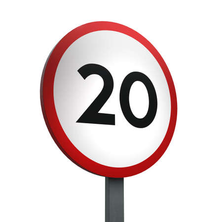 3D Render of Traffic Sign of indicating a speed limit of 20 Over a White Background Banco de Imagens