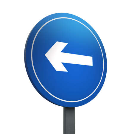 3D Render of Traffic Sign of Turn left Over a White Background