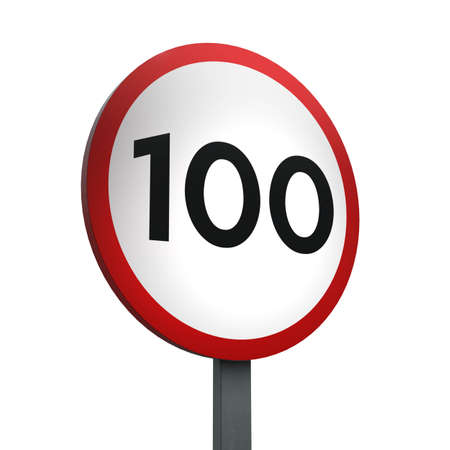 3D Render of Traffic Sign of indicating a speed limit of 100  Over a White Background