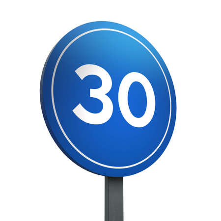 3D Render of Traffic Sign of Minimum speed Over a White Background