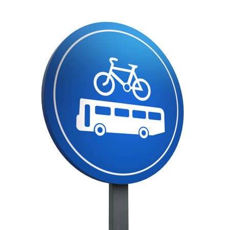 3D Render of Traffic Sign of Buses and cycles  only Over a White Background