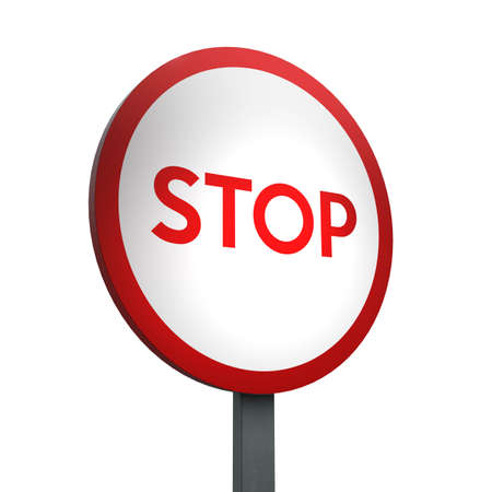 3D Render of Traffic Sign of Stop Over a White Background Banco de Imagens