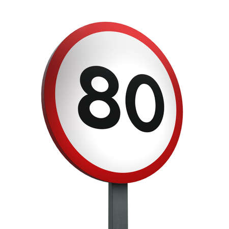 3D Render of Traffic Sign of indicating a speed limit of 80 Over a White Background