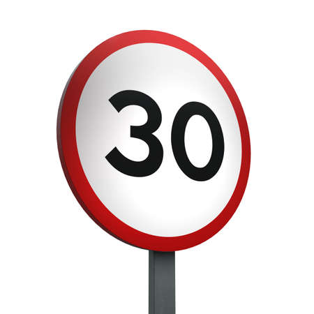 3D Render of Traffic Sign of indicating a speed limit of 30 Over a White Background