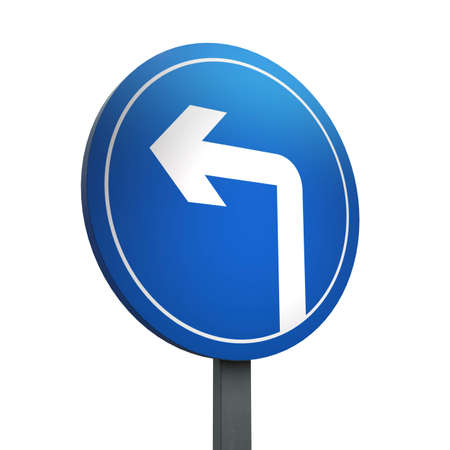 3D Render of Traffic Sign of Turn left ahead Over a White Background
