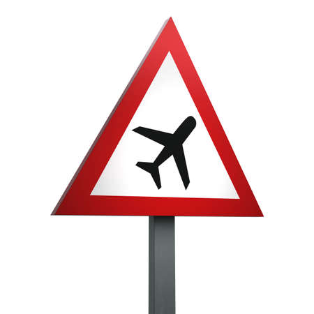 3D Render of Traffic Sign of Low-flying aircraft  or sudden aircraft noise  Over a White Background