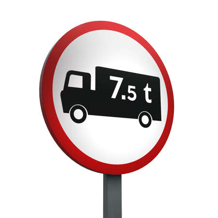 3D Render of Traffic Sign of No goods vehicles over maximum gross weight  shown Over a White Background