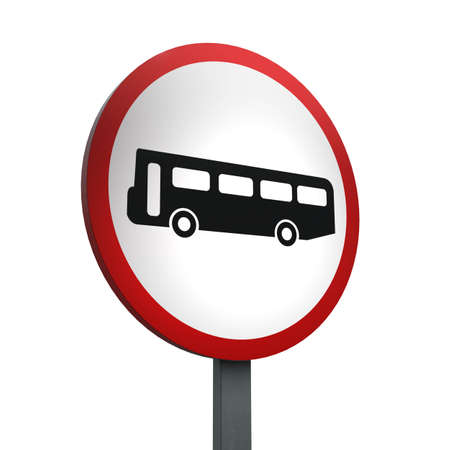 3D Render of Traffic Sign of No buses Over a White Background