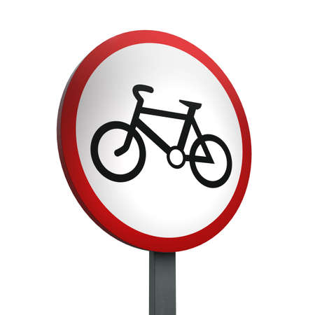 3D Render of Traffic Sign of No cycling Over a White Background