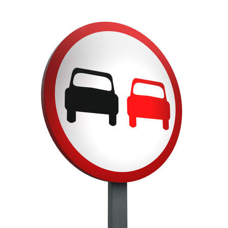 3D Render of Traffic Sign of No overtaking Over a White Background