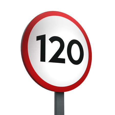 3D Render of Traffic Sign of 120 km Over a White Background Banco de Imagens