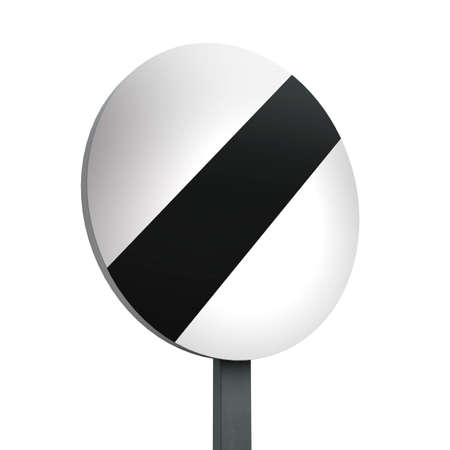 3D Render of Traffic Sign of National speed limit applie Over a White Background