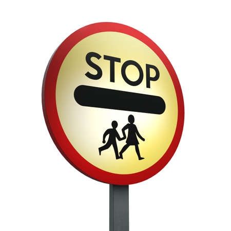 3D Render of Traffic Sign of School crossing  patrol Over a White Background Banco de Imagens