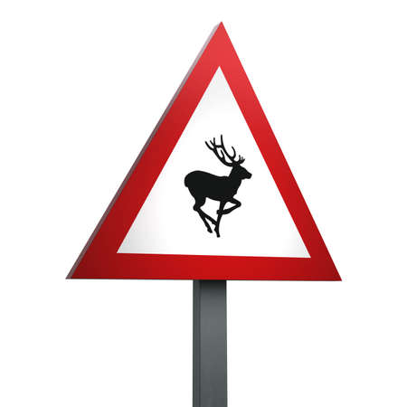 3D Render of Traffic Sign of Wild animals Over a White Background