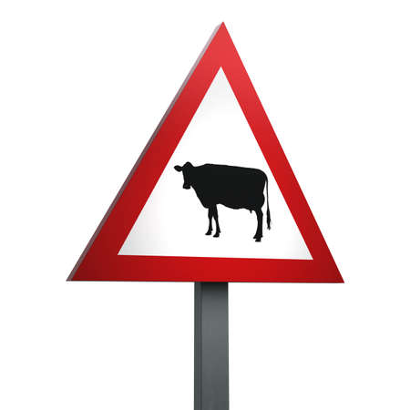 3D Render of Traffic Sign of Cattle Over a White Background