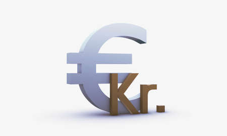 Exchange rating of Dollar and Danish krone Isolated on a White Background
