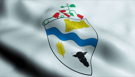 3D Illustration of a waving Chilean county flag of Rio Bueno