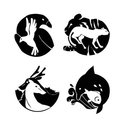 animals logos for zoo or safari Vector