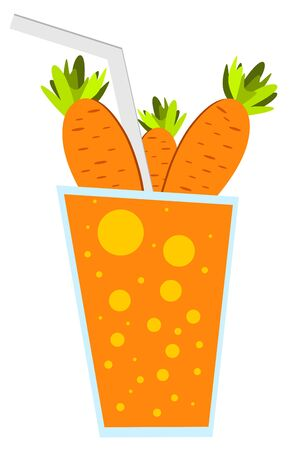 Carrots in glass of carrot juice. Fresh carrots juice on white background. Vector illustration.