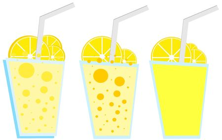 Lemon drink in glass with lemon slice. A straw in a glass of lemonade. Vector illustration isolated on white background.