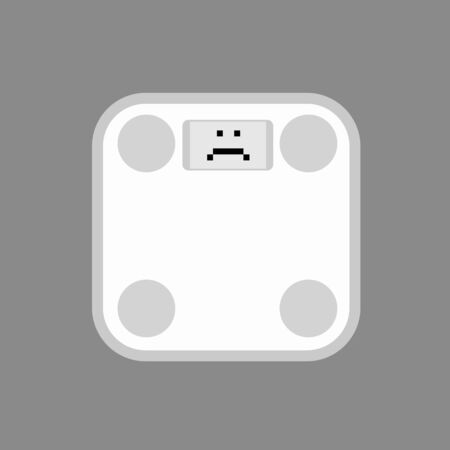 weight with sad face. Vector illustration of sad weighing machine Illustration