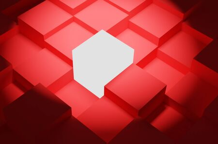 one different cube among other identical cubes. leadership and uniqueness concept. rendered in 3d