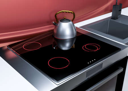 kettle on an induction cooker in a modern kitchen. 3d render