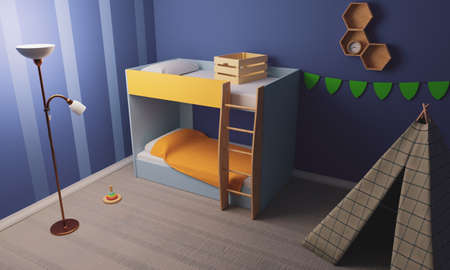 bed with ladder in blue room. tent in the child's room. 3d render