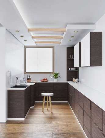 interior of an empty kitchen lit by warm light. 3d render Stock Photo