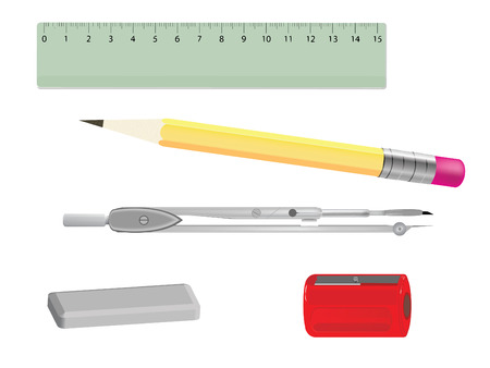Compass, ruler, pencil, sharpener and eraser Zdjęcie Seryjne