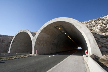 Tunnel on the highway A1 in the hinterland of town Split in Croatia