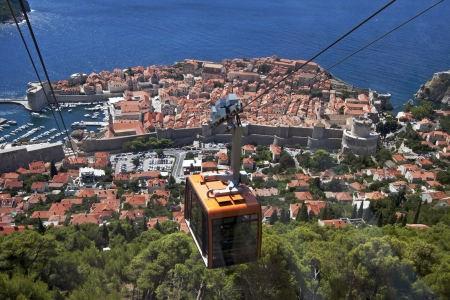 srd: Cable Car above the old town Dubrovnik, connects old town and hill Srd