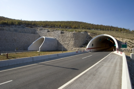 Tunnel on the highway A1 in the hinterland of town Split in Croatia photo