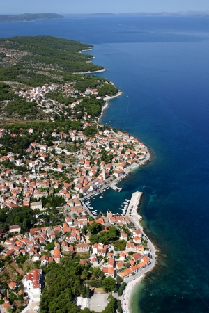 brac: Sutivan, village on the north-west of Brac Island, Croatia, aerial view