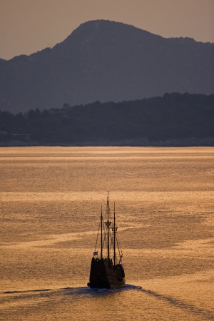 Wooden sailing boat on journey from Dubrovnik to Elafiti islands photo