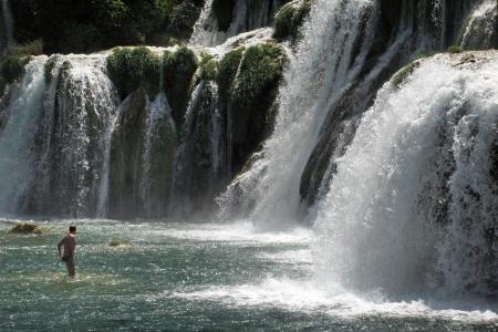 natural phenomena: Krka River with its waterfalls and natural phenomena Stock Photo