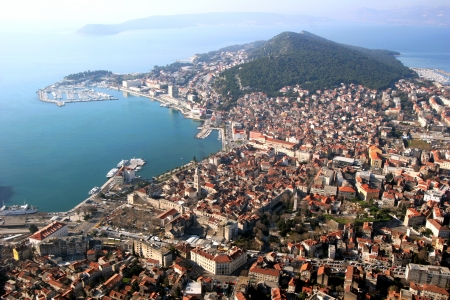 Aerial view, Split city center, old town with Diocletian palace, port and Marjan peninsula