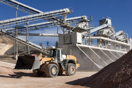 machines: Limestone quarry with modern crushing and screening equipment