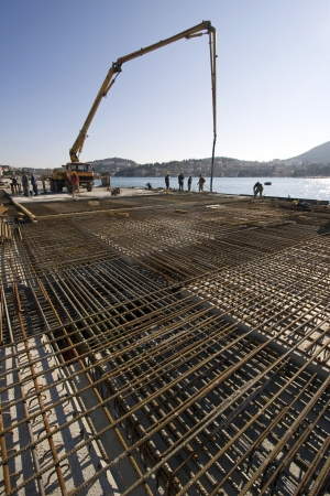 Concreting works on Construction site in Dubrovnik harbour