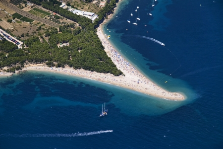 brac: Golden cape beach in Bol, Brac Island, Croatia, aerial view Stock Photo